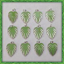 12 Enamel Green Leaves Summer Spring Charms Jewelry DIY Bracelet Earrings P8