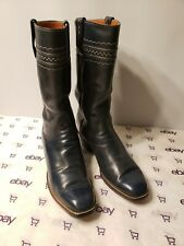 Lucchese San Antonio Navy Blue Leather Cowboy Boots Mens Size 7.5 D