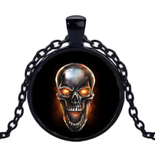 Vintage Metal Skull With Fire Black Cabochon Glass Necklace chain Pendant