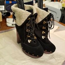NYLA Women's Black Suede  & Sherpa Platform Winter Warm  Lace Up Ankle Boots 9.5