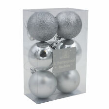 Shatterproof Christmas Tree Decoration - 6 Pack 60mm Baubles - Silver
