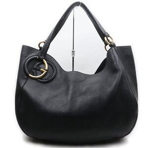Gucci Tote Bag  Black Leather 1007608
