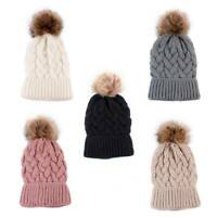 Fashion Women Ladies Winter Warm Knitted Crochet Beanie Hat Fur Pom Ball Ski Cap