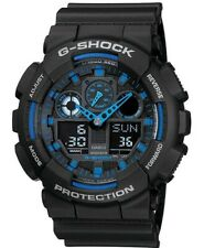 Casio G-SHOCK GA100-1A2 Standard Analog-Digital Black & Blue Men's Watch