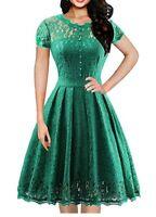 IHOT Women's Vintage 1950s Floral Lace A Line Dress Size 2XL RRP£60 (324)