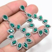 Natural Zambian Emerald Earrings 925 Sterling Silver Women Statement Jewelry New
