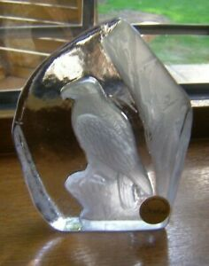 BEAUTIFUL `GOEBEL` CRYSTAL GLASS `EAGLE` PAPERWEIGHT 13CM X 10CM VGUC WITH LABEL