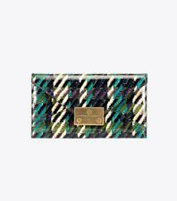 """NWT Tory Burch """"Juliette"""" Tweed Patent Leather Envelope Wallet Pouch Clutch $198"""