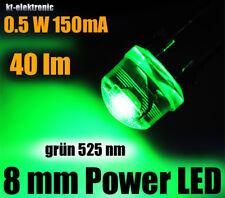 3 Stück 0,5W Power LED 8mm grün 525nm 40 lm, Kurzkopf Flachkopf Straw Hat