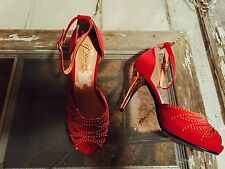 Women's Beacon Red Fabric Open Toe Beaded Ankle Strap Heels Shoes Size 9 1/2 W