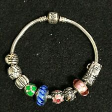 Pandora Sterling Silver Moments Snake Chain With 10 Charms Flower Bracelet 7.75""