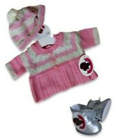 Teddy Bear Clothes fit Build a Bear Pink Knitted Dress & Hat Outfit & Free Boots