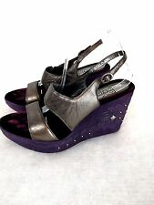 Donald J Pliner Couture Wedge 10M Stelo Purple Pewter Open Toe Studded Italy