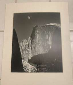 matted ansel adams photo of half dome in yosemite