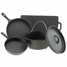 Pre-seasoned 5 Piece Cookware Set Cast Iron Dutch Oven Skillets Pans Griddle NEW