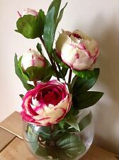 Artificial Silk Flower Arrangement Luxury Pink And Cream Peony In A Glass Vase