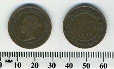 Canada 1876 H- 1 Cent Bronze Coin - Queen Victoria