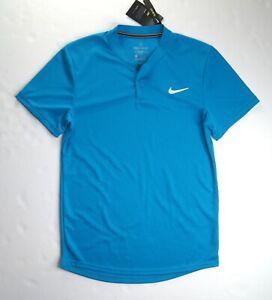 NIKE Men's Turquoise Slim Fit Blade-Collar Tennis Polo Shirt AQ7732-425 NWT