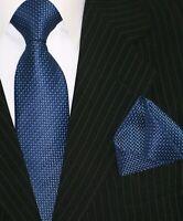 Binder de Luxe Krawatten Set Krawatte Einstecktuch Tie fein gemustert 150 blau