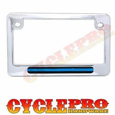 Chrome Metal Police Blue Line License Plate Frame Touring & Street Motorcycle