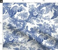 Edwardian Blue And White Willow Ware Parrot Fabric Printed by Spoonflower BTY
