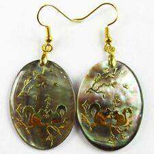 1pair Natural Abalone Shell Oval Squirrel Pendant Bead Earring EH1160