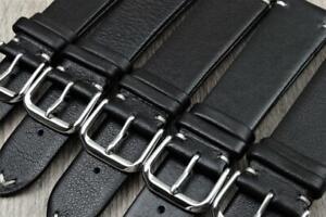 Handmade Watch Strap Genuine Calf Leather Corner Stitch Black 18mm-22mm