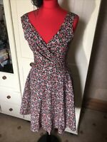 LINDY BOP Ladies Blue Red Ditsy Floral Retro Style Sleeveless Dress Size 12