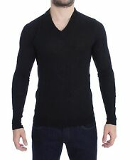 NWT $260 COSTUME NATIONAL HOMME Black Fine Wool V-neck Sweater Pullover s. M
