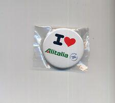 airlines memorabilia I love ALITALIA pin badge button - sealed aa