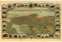Map of Oakland California; Antique Map; Pictorial or Birdseye Map, 1900