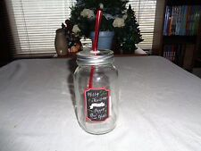 Merry Christmas And Happy New Year Glass Jar With Straw