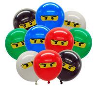10pcs/lot for Boys Kids Ninjago Theme Birthday Party Balloon Set, 12 inch Latex