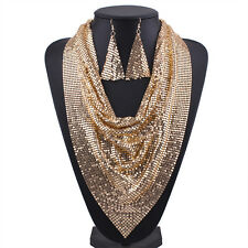 Women Metal Mesh Bib Pendant Collar Scarf Choker Necklace Earrings Jewelry Set