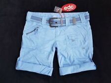 EDC BY ESPRIT Play Turn Up Cargo-Bermuda + Gürtel Krempelhose Gr. 38 M NEU blau
