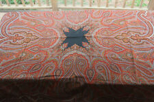 "Antique Wool Paisley Shawl Kashmir 68 x 70"" Nice Coloring Some Small holes"