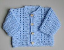 New Hand Crochet Baby Boys Blue Cardigan Fit Newborn/ 1 Month