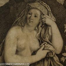 RARE DESSIN ANCIEN SUR VELIN XVIIE SIGNé DIANE VENUS NU 17TH ANTIQUE INK DRAWING