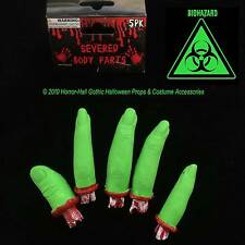 Toxic Biohazard-GREEN SEVERED FINGERS-Body Parts-Mad Scientist Lab ZOMBIE Prop-5