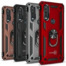 CoverON For Motorola One Action Ring Case Metal Plate Hard Hybrid Phone Cover