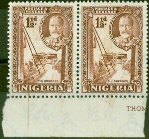 Nigeria 1936 1 1/2d Brown SG36a P. 12.5 x 13.5 Fine Lightly Mtd Mint Pair