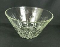 """Vintage Crystal Clear Glass Serving Bowl Etched Floral 9-3/4"""" W Heavy"""