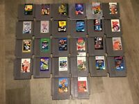 26 Nintendo Nes Game Lot Mario Simpsons Tetris Dragon Warrior Dig Dug II Top Gun