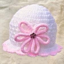 WHITE BABY GIRLS HAND CROCHETED HAT knit shower gift romany bling vintage sun fr