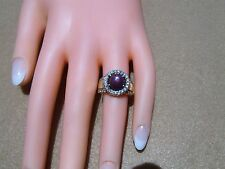 Estate vintage 14k yellow gold 4.00 ctw Ruby Star Sapphire Diamond ring size 6