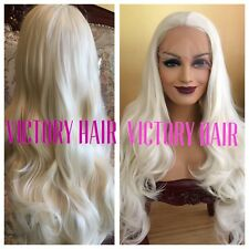 Platinum Blonde Wavy Light Lace Front Wig.  Long human Hair Blend