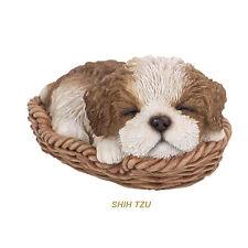 Shih Tzu Sleeping in Basket Puppy Dog Figurine