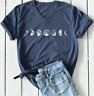 2019 Womens  Summer Moon Phases Shirts T-shirts Ladies Casual Short Sleeves Tops