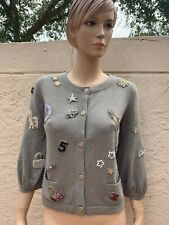 CHANEL 100% CASHMERE BEADED EMBELLISHED LUCKY CHARMS CARDIGAN SZ 42