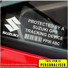 4 x Suzuki PERSONALISED GPS Tracking Device-Stickers-Security,Alarm,Vehicle,Car